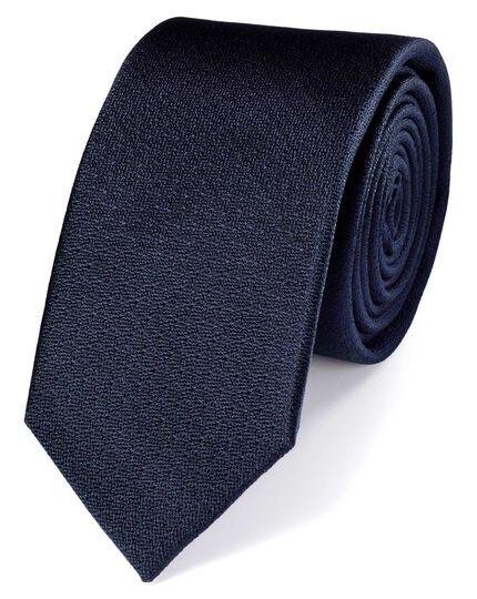 Slim navy silk textured plain classic tie