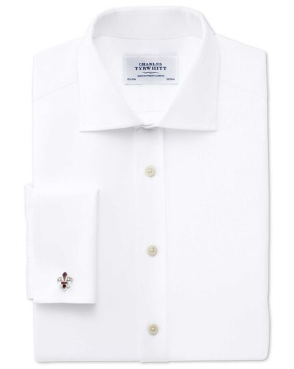 Extra slim fit semi-spread collar Regency weave white shirt