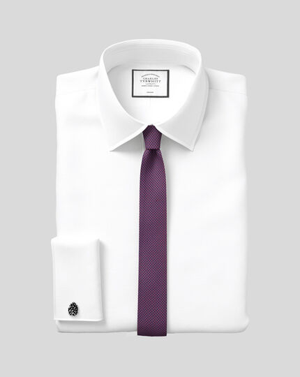 Extra slim fit non-iron royal Panama white shirt