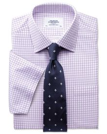 Slim fit non-iron short sleeve lilac shirt