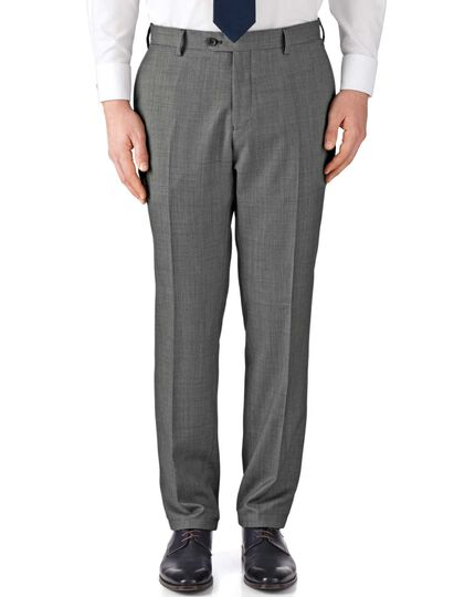 Grey classic fit birdseye travel suit trousers