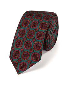 Grey and red luxury wool medallion print slim tie