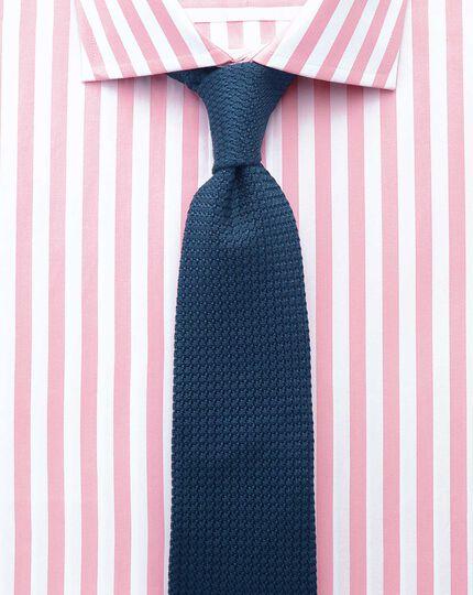 Classic fit semi-cutaway collar Egyptian cotton stripe pink shirt