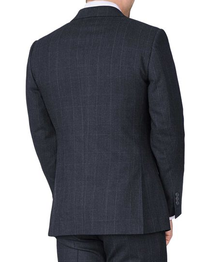 Navy check slim fit saxony business suit jacket