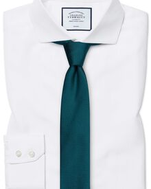 Extra slim fit cutaway collar non-iron herringbone white shirt