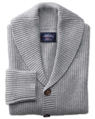 Light grey rib shawl collar cardigan
