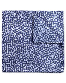 Blue silk floral classic pocket square