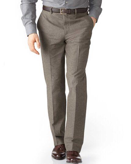 Beige classic fit cotton flannel trouser
