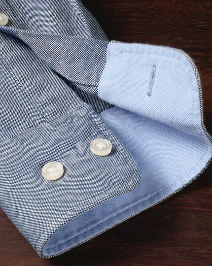 Classic fit denim blue plain washed Oxford shirt