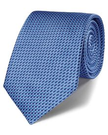 Blue silk classic lattice tie