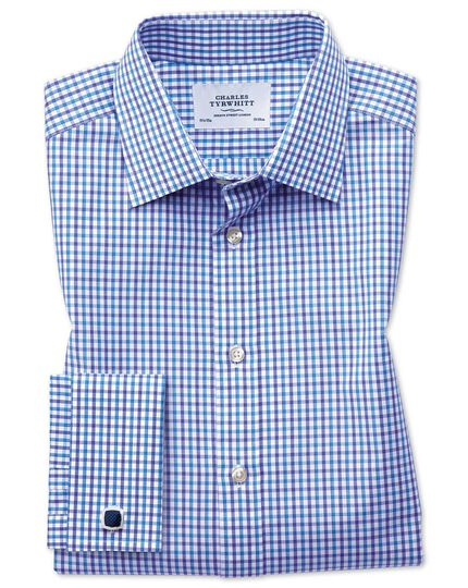 Slim fit two colour check blue shirt