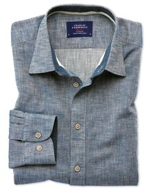 Classic fit popover herringbone denim blue shirt