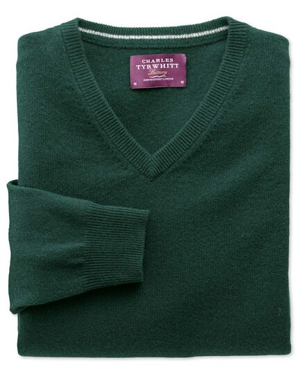 Green cashmere v-neck sweater