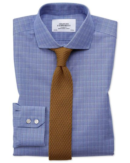 Extra slim fit cutaway non-iron Prince of Wales blue shirt