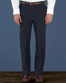 Indigo slim fit cotton flannel herringbone trousers