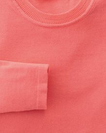 Women's coral cotton cashmere crew neck knit sweater
