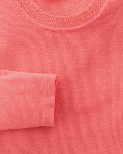 Women's coral cotton cashmere crew neck knit jumper