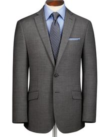Grey classic fit sharkskin business suit jacket