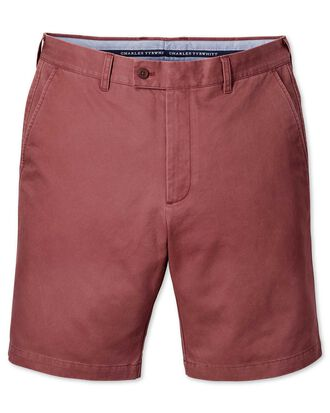 Light red slim fit chino shorts