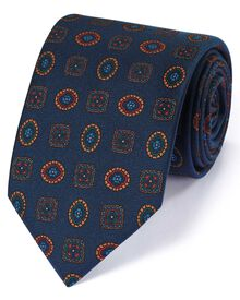 Navy silk English luxury medallion tie
