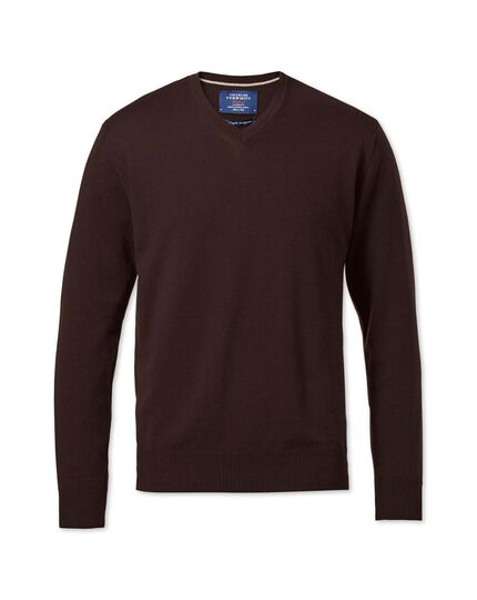 Brown merino wool v-neck jumper