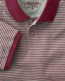 Slim fit wine and grey striped pique polo