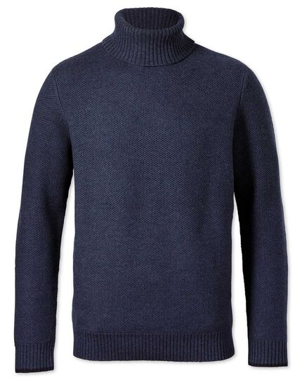 Indigo merino cotton roll neck sweater