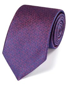 Blue and pink silk textured luxury tie
