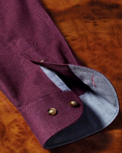 Slim fit button-down soft cotton plain berry shirt