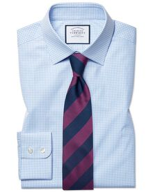 Classic fit small gingham check sky shirt