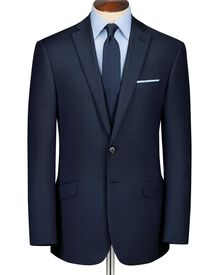 Navy classic fit sharskin business suit
