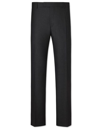 Charcoal slim fit British hopsack luxury suit pants