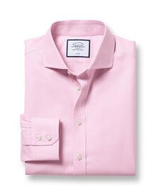 Slim fit spread collar non-iron twill pink shirt