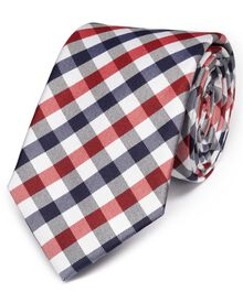 Red and navy silk classic check tie