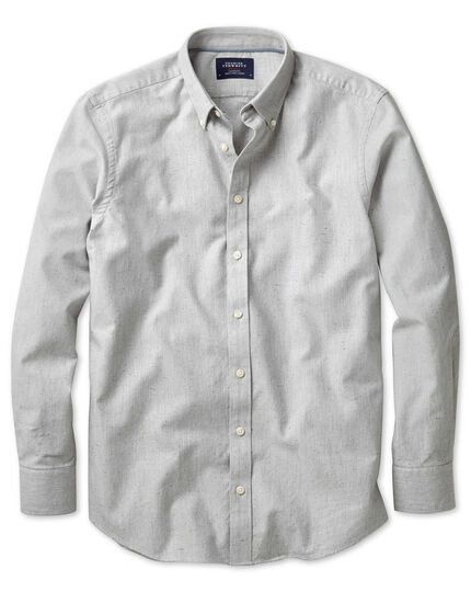 Classic fit modern Oxford grey fleck shirt
