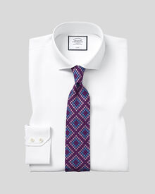 Classic fit spread collar non-iron twill white shirt