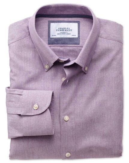 Slim fit button-down collar business casual berry shirt