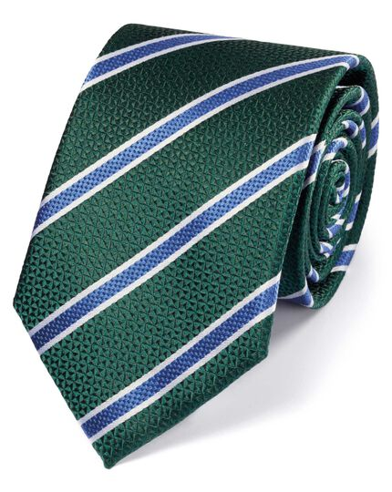 Green and blue silk textured stripe classic tie