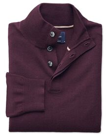 Wine merino wool button neck sweater