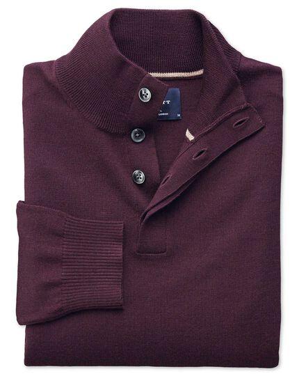 Wine merino wool button neck jumper