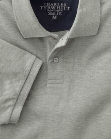 Slim fit grey pique polo