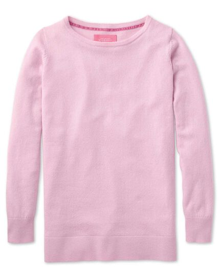 Light pink merino cashmere long line sweater