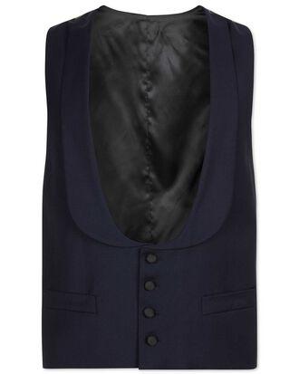 Gilet de costume de soirée bleu marine coupe ajustable à col châle