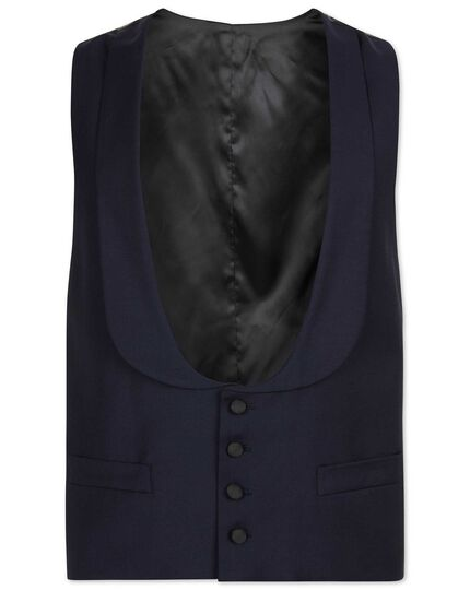 Navy adjustable fit shawl collar tuxedo waistcoat