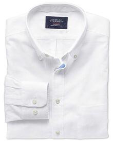 Classic Fit Hemd aus Baumwolle / Leinen in weiß