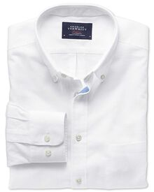Slim fit white cotton linen shirt