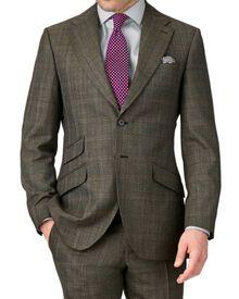 Khaki slim fit thornproof luxury suit jacket