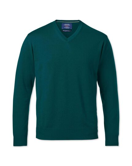Pine green merino wool v-neck sweater