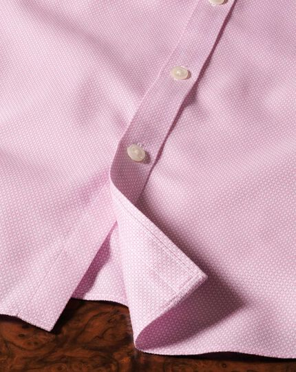 Extra slim fit non-iron honeycomb pink shirt