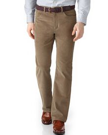 Natural classic fit stretch 5 pocket needle cord trouser